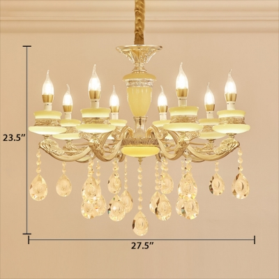 Modern Candle Chandelier Clear Crystal 6/8/15 Lights Yellow Hanging Pendant with 19.5