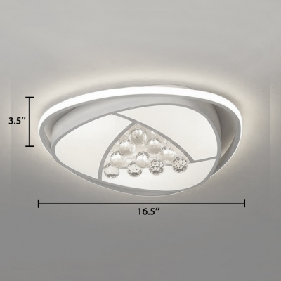 Modern Oval Flush Mount Lighting Acrylic Flush Light with Clear Crystal Decoration in White
