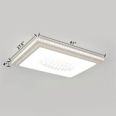 Modern Rectangle Flush Ceiling Light Clear Crystal Decoration LED Flush Mount Light in White for Living Room