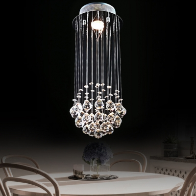 Round Canopy Bedroom Chandelier Clear Crystal 1 Light Contemporary Flush Mount in Chrome