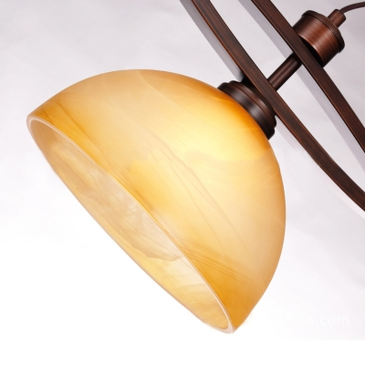 Rustic Amber Island Ceiling Light with Bowl and Adjustable Cord 3 Lights Glass Island Lamp