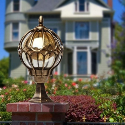 Vintage 1 Pack LED Post Lamp 1 Pack Black/Bronze Post Lantern for Balcony Courtyard