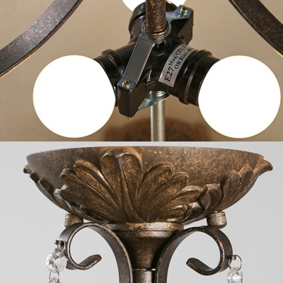 Vintage Bronze Ceiling Fixture with Dome and Clear Crystal Decoration 3 Lights Metal Semi-Flush Light