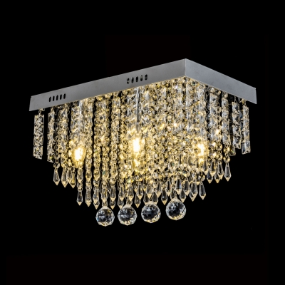3-Light Clear Crystal Flush Mount Light Fixture Contemporary Style Ceiling Lighting, 18