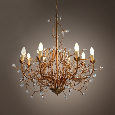 Vintage Height Adjustable Candle Chandelier with 39