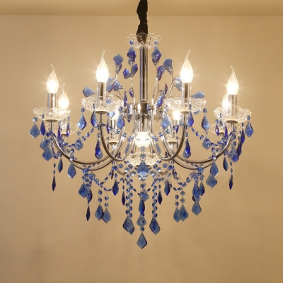 """Living Room Candle Chandelier Metal Height Adjustable Antique Chandelier Light with Blue Crystal and 12"""" Cord, HL511577"""