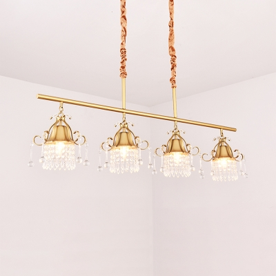 3/4 Lights Drum Chandelier Light Vintage Length Adjustable Metal Chandelier with Clear Crystal in Brass