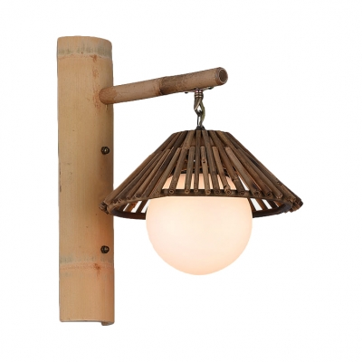 Bamboo Stick Tapered Wall Sconce with White Globe Shade Country Style 1 Light Wall Lamp in Wood