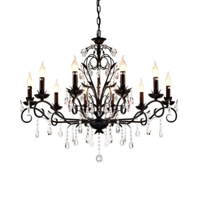 Adjustable Metal Candle Chandelier 10/12 Lights Rustic Ceiling Pendant with 12