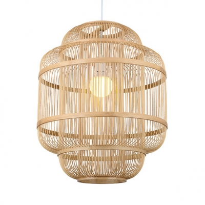 Asian Cylinder Pendant Light with 47