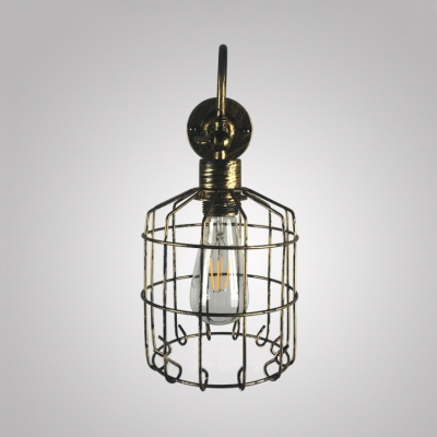Basket Cage Sconce Light Vintage Single Light Metal Wall Light in Gold/Rust for Living Room