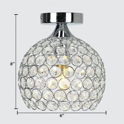 Bedroom Orb Semi Flush Light Clear Crystal Contemporary Gold/Silver Ceiling Lighting, 8