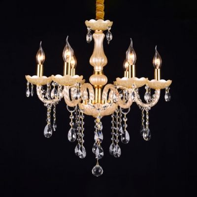 Candle Dining Room Chandelier Metal 6 Lights Contemporary Hanging Lamp with 12