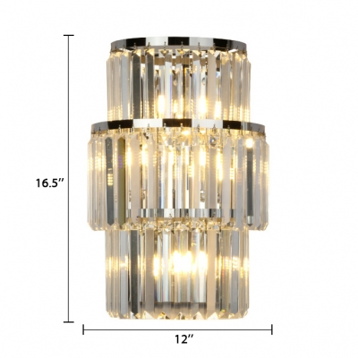 Clear Crystal Sconce Lighting 3 Lights Vintage Style Wall Mounted Light in Gold/Chrome