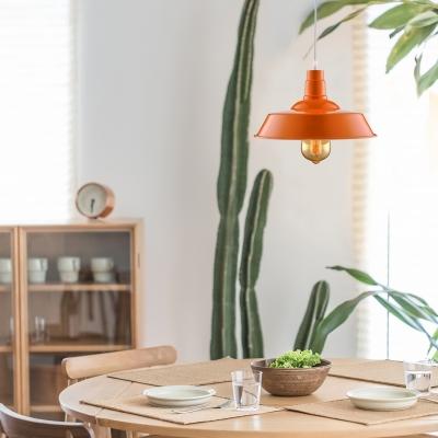 Fresh Orange 1 Light LED Pendant in Barn Style