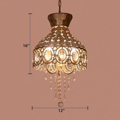 Gold Hollow-Out Pendant Light Modern Metal Light Fixture with Clear Crystal for Living Room