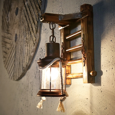 Lantern Shape Sconce Light Living Room Single Light Antique Hanging Wall Sconce in Rust