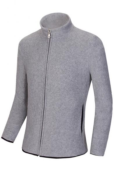 Mens New Fashion Slim-Fit Zip Closure Polar Fleece Plain Stand Collar Sweatshirt Jacket