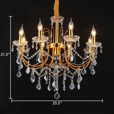 Modern Brass Chandelier with Candle and 12