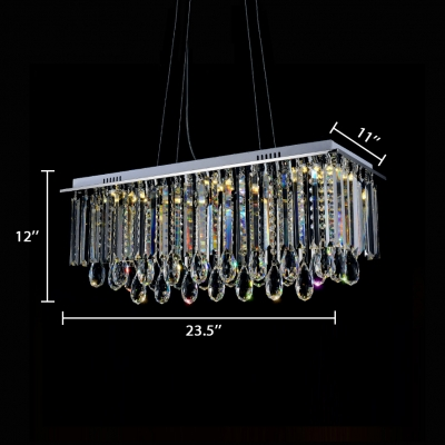 Modern Rectangle Pendant Lights with Adjustable Cord Clear Crystal 6 Lights Nickel Chandelier in Third Gear