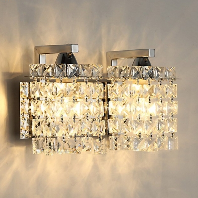 Rectangle Wall Light Fixture for Bedroom 2 Lights Vintage Style Clear Crystal Sconce Lighting