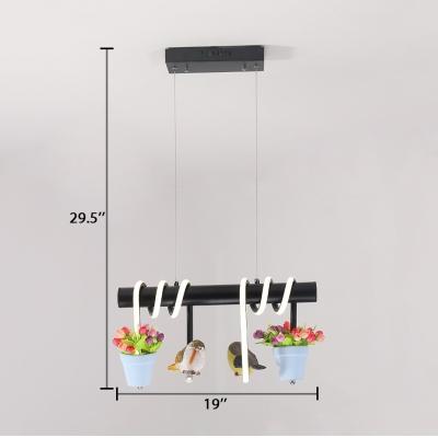 Rustic Linear Island Light Fixtures 2/3 Lights Metal Island Pendants with Adjustable Cord in Blue