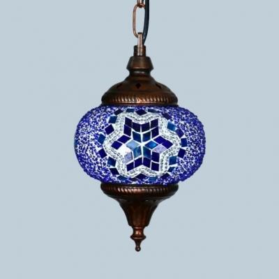 Single Light Spherical Light Fixture Antique Mosaic Pendant Lighting for Living Room