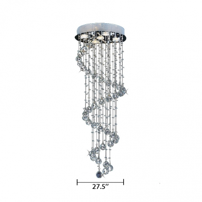 Spiral Flush Ceiling Living Room 7/9/13 Lights Modern Chandelier in Polished Chrome
