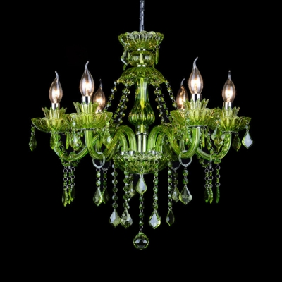 Traditional Purple/Green/Red Chandelier with Candle and 12