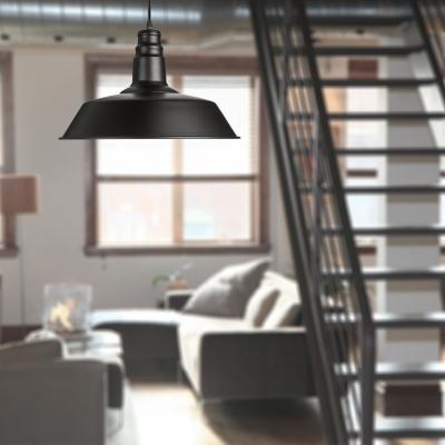 Warehouse Barn Pendant Industrial One Light Indoor Lighting Fixture with Metal Shade in Textured Black