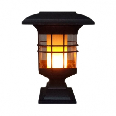 1/2 Pack Flame Post Lantern Outdoor Waterproof LED Solar Powered Post Light Fixture