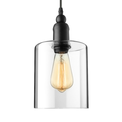 1-Light LED Mini-Pendant Light with Cylindrical Shade in Clear Glass