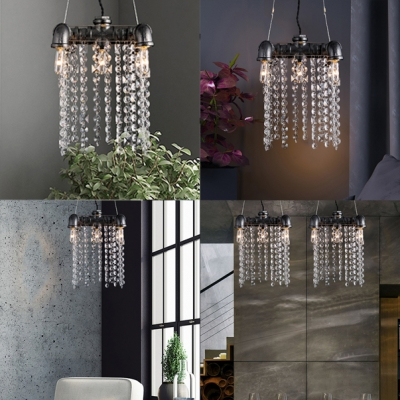 5-Light Pipe Hanging Light with Clear Crystal Antique Metal Pendant Lighting in Black for Kitchen