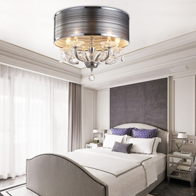 Drum Pendant Lighting with Clear Crystal Decoration Modern Style Gray Fabric Flush Light