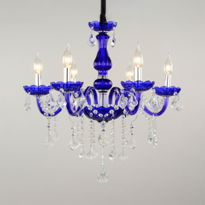 Candle Foyer Hanging Chandelier Clear Crystal 6 Lights Kids Chandelier with 12