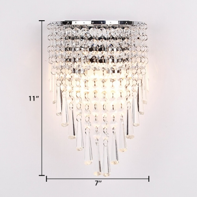 Clear Cone Crystal Wall Mount Light Fixture Vintage Style Sconce Lighting in Chrome/Gold
