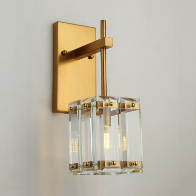 Contemporary Cube Sconce Metal and Clear Crystal Single Light Brass Wall Lamp for Kitchen