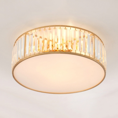 Contemporary Drum Ceiling Lighting Clear Crystal 3 4 5 Lights Flush