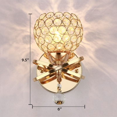 Globe Sconce Lighting One Light Vintage Style Clear Crystal Wall Light Fixture for Bathroom