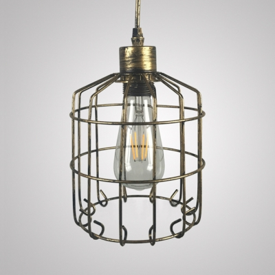 Kitchen Caged Hanging Lamp Metal Industrial Gold/Rust Ceiling Light with 39