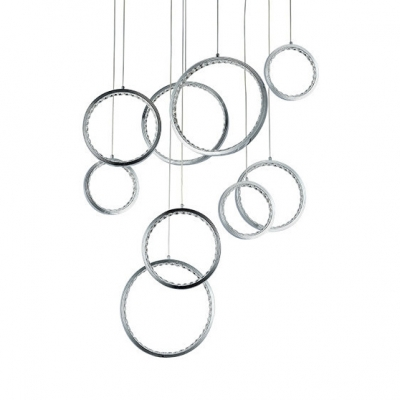 LED Ring Hanging Light Bedroom 9 Lights Modern Ceiling Light with Clear Crystal Bead in Chrome