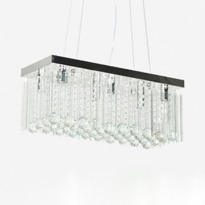Living Room Linear Chandelier Clear Crystal Contemporary Black Suspension Light with 39