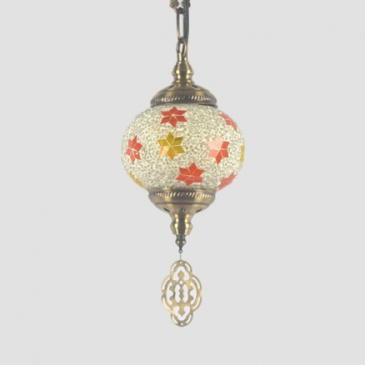 Moroccan Spherical Ceiling Light Stained Glass Pendant Ceiling Light for Living Room