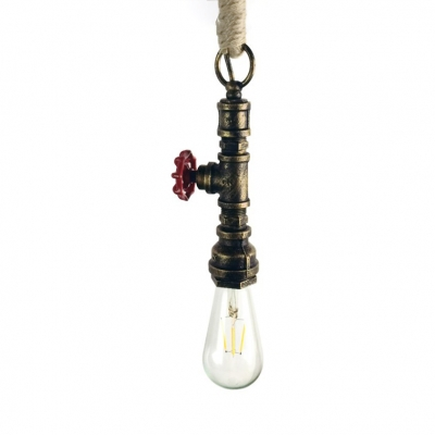 Pipe Kitchen Ceiling Pendant Light Height Adjustable Metal Single Light Industrial Pendant Lamp in Gold/Silver/Rust