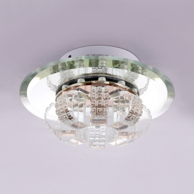 Round Canopy Kitchen Flush Ceiling Lighting Clear Crystal Contemporary Light Fixtures in Brass