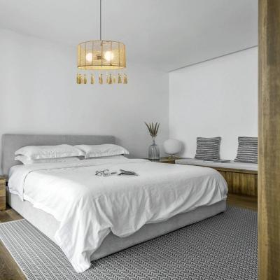 Rustic Beige Pendant Light with Drum Shade and Tassel One/Three Light Rattan Indoor Hanging Light