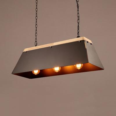 Rustic Rectangle Island Lamps 3 Lights Metal Length Adjustable Pendant Lights with 47