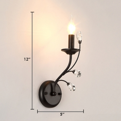Single Light Candle Sconce Lighting with Clear Crystal Modern Style Iron Wall Mounted Light in Black