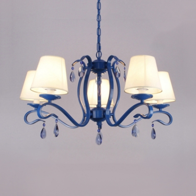 Tapered Chandelier with White Fabric Shade and 12