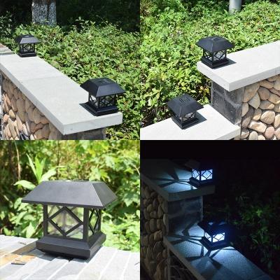 1/2 Pack LED Post Cap Light with Dusk to Dawn Sensor Antique Solar
